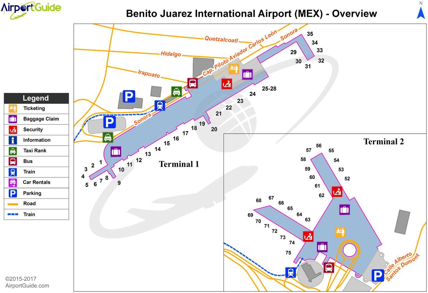 Flughafen von Mexiko City map terminal 1 - Mexico City ...